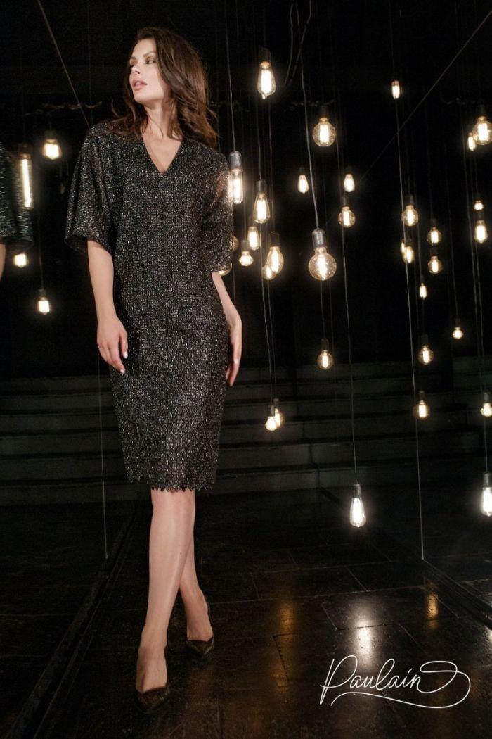 Темное искрящееся коктейльное платье с коротким рукавом АДОР