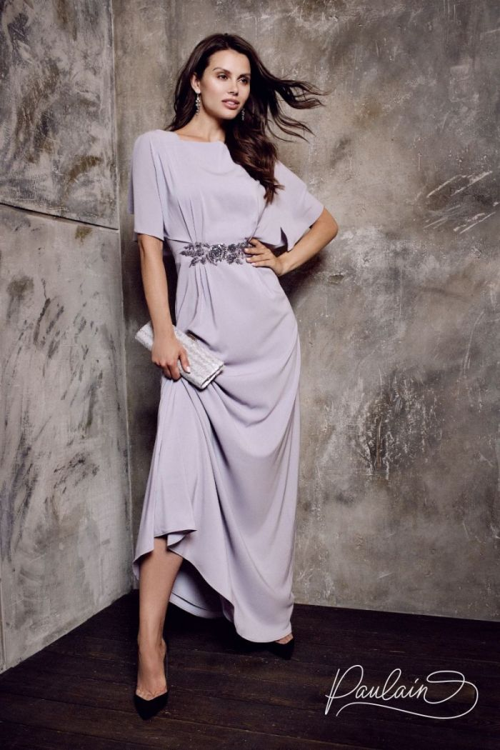 Вечернее платье прямого силуэта из шифона с коротким рукавом АВИВА