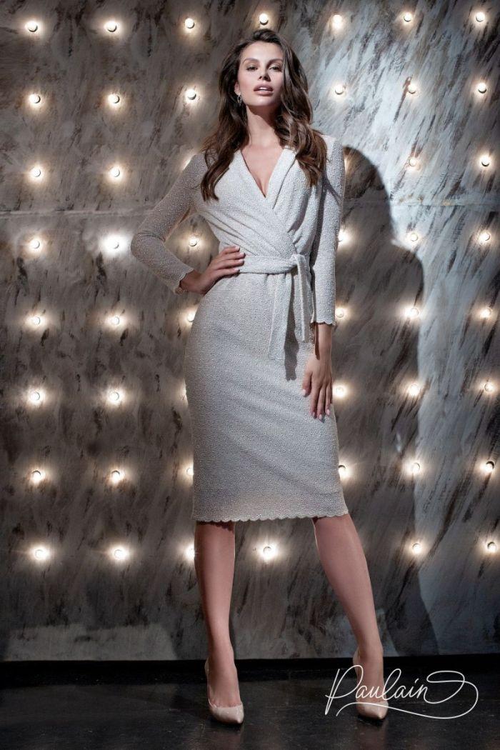 Женское платье длины миди с V-образным вырезом и длинным рукавом ДАЙКИРИ