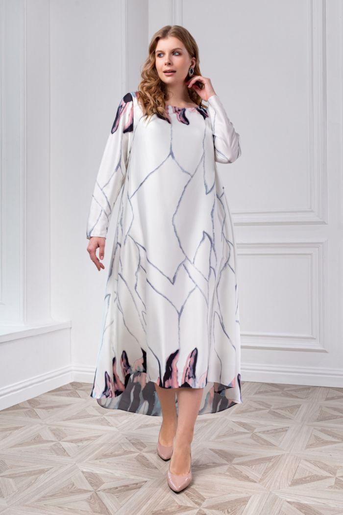Вечернее платье с акварельным принтом и длинным рукавом МУНЛАЙТ +