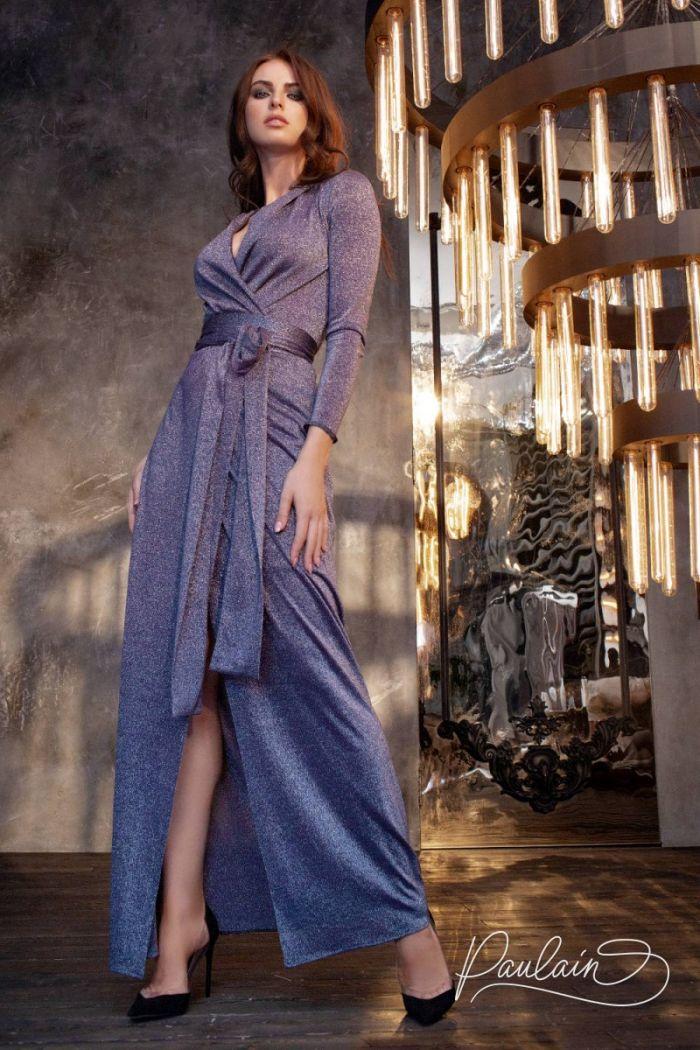 Вечернее платье с длинным рукавом и V-образным декольте ПРАЙМ