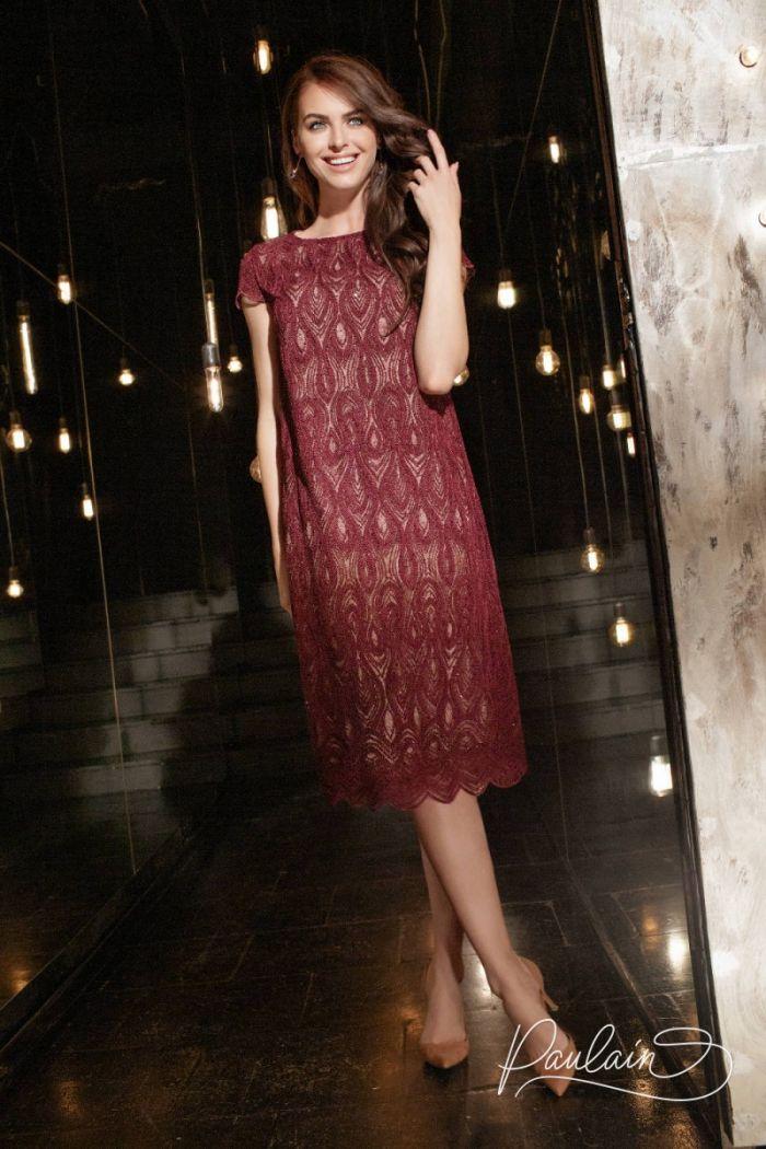Кружевное коктейльное платье миди с коротким рукавом ШАДОУ