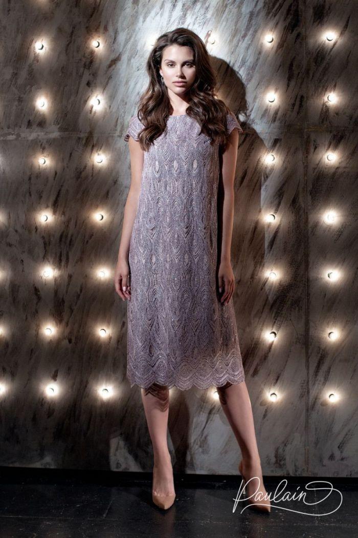 Закрытое коктейльное платье из кружева с коротким рукавом ШАДОУ