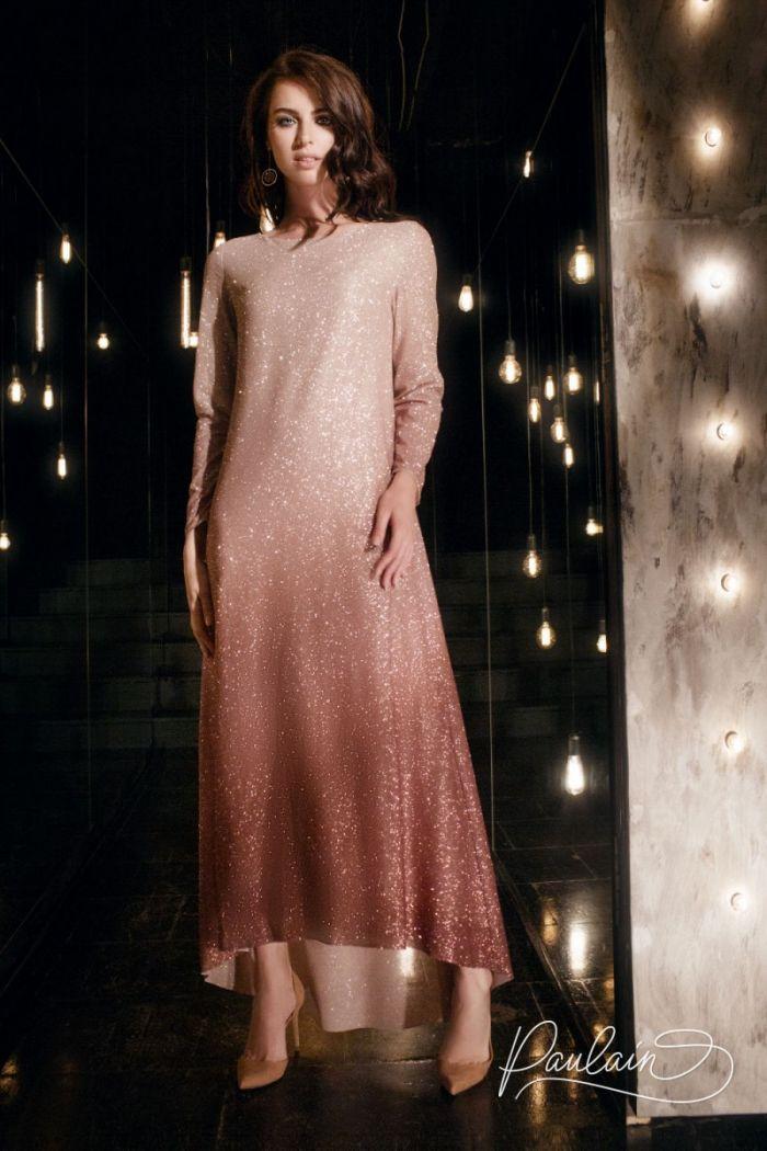 Вечернее платье с эффектом омбре из глиттерной ткани с длинным рукавом ШАЙНИ