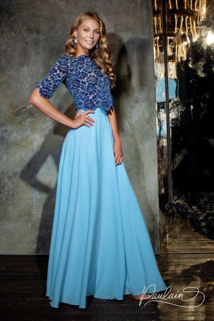 Вечернее платье-комплект из двух частей кружевной топ и длинная юбка СОЛАР