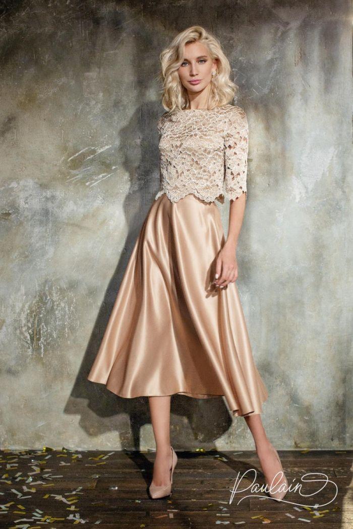 Вечерний наряд из ажурного топа и элегантной юбки длины миди СОЛАР & КАЙРА