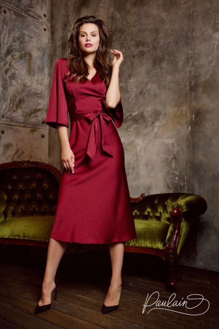 Атласное коктейльное платье с коротким рукавом ВИВИД