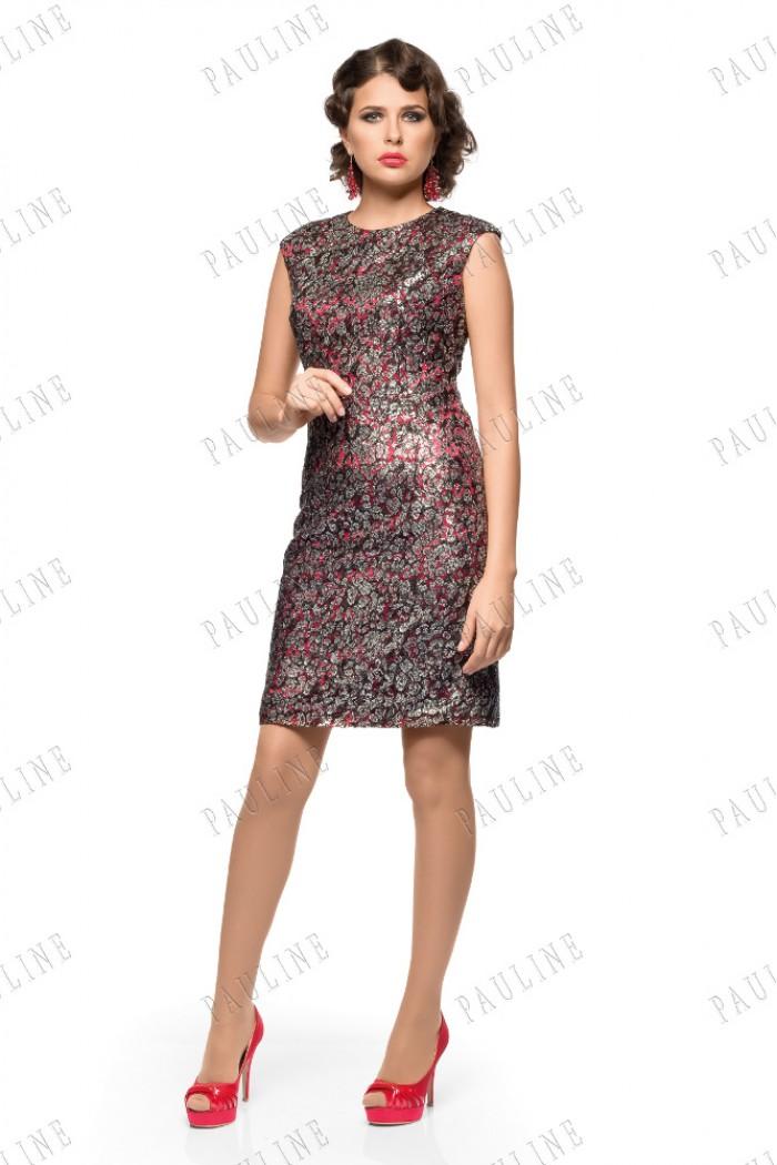 Атласное вечернее платье с кружевом АНСИ