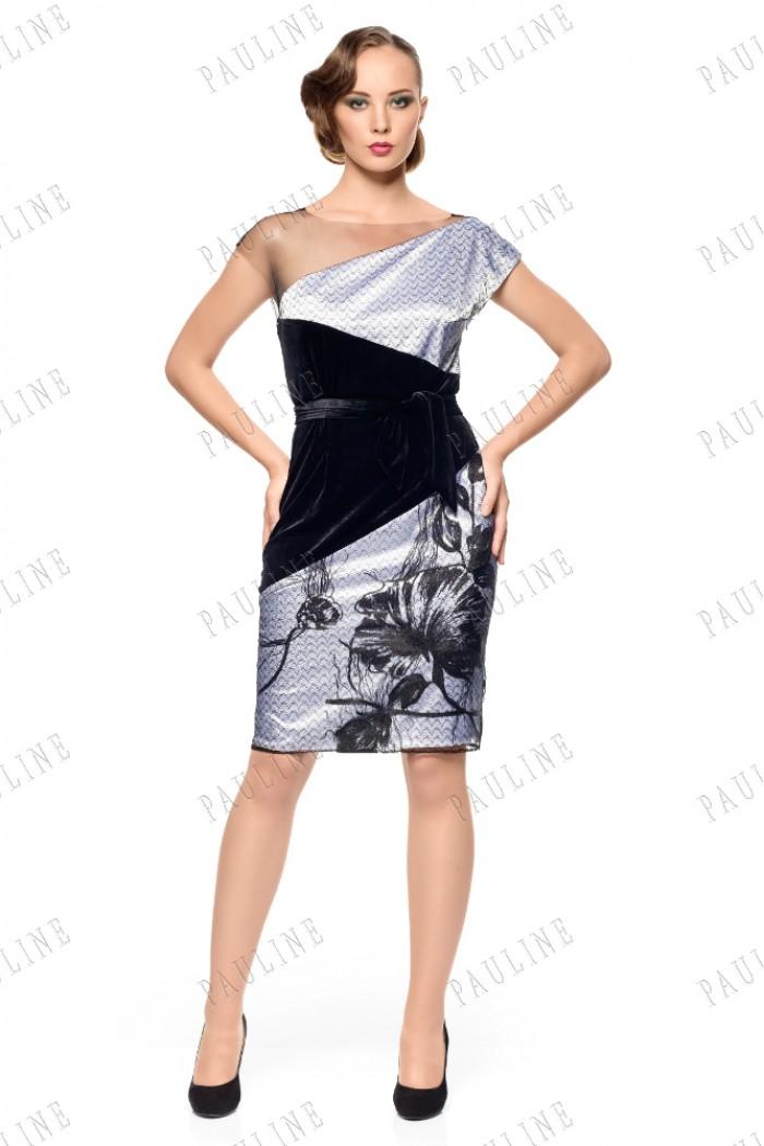 Атласное короткое платье с кружевом и бархатом ТЕКИЛА