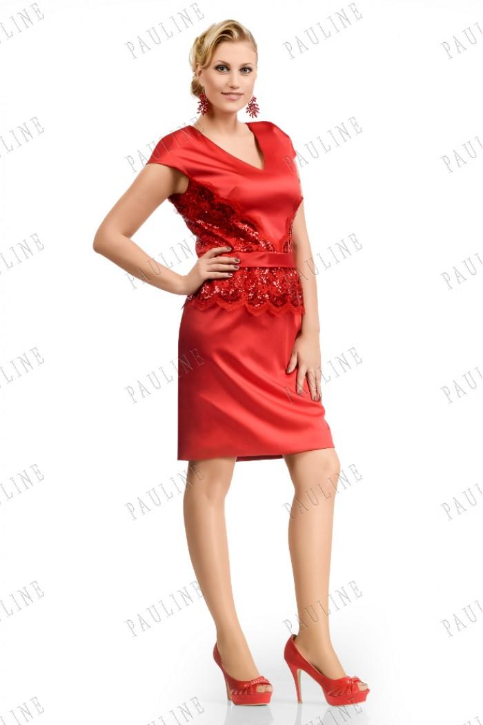 Красное вечернее платье из атласа ТОРРЕС