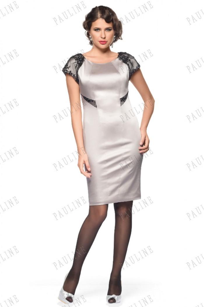 Атласное короткое платье ШАБЛИ