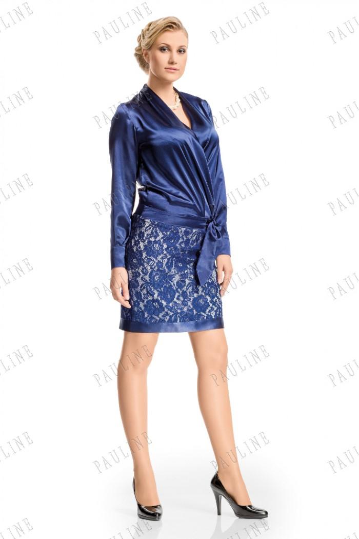 Короткое платье с рукавом и кружевной юбкой ФИАЛКОВЫЙ ЛИКЕР