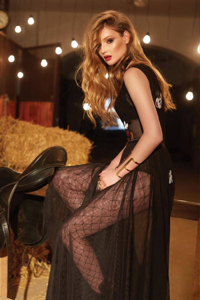 Пикантное вечернее платье с полупрозрачным верхом АМАРОН