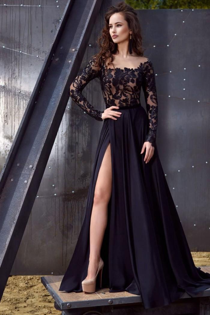 Черное вечернее платье с кружевным верхом и длинной юбкой МЕНФИ