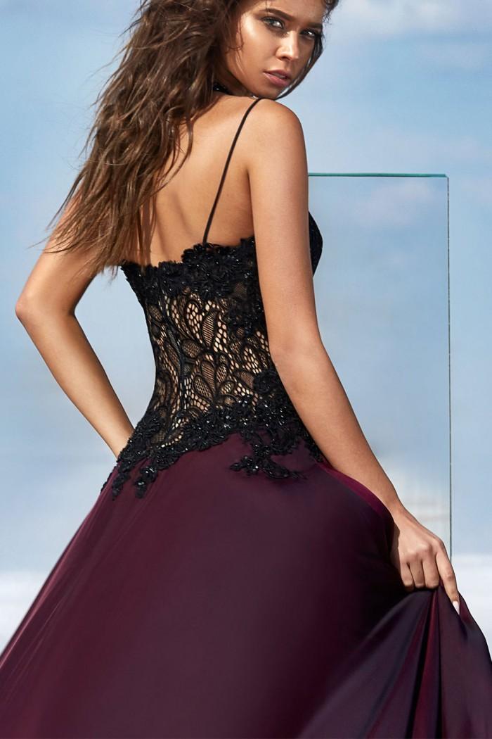 Сексуальное вечернее платье насыщенного бордового цвета МАЛАВИ