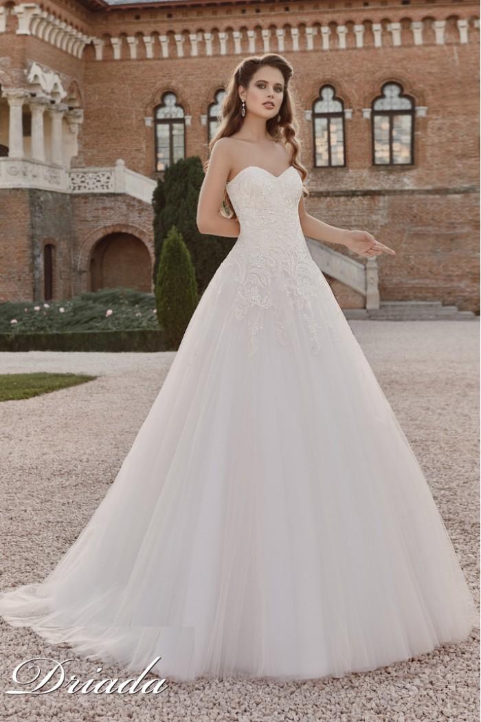 Открытое свадебное платье с кружевным лифом ДРИАДА