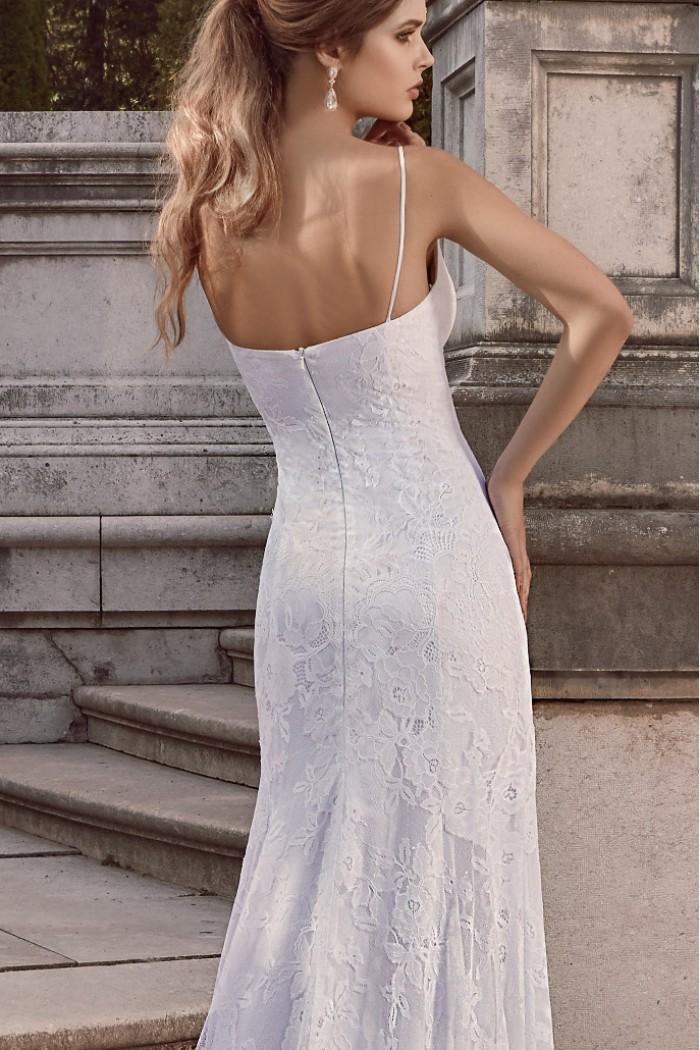 Белое свадебное платье из атласа и кружева ИДА