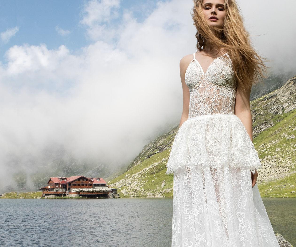 Самое необычное кружевное свадебное платье белого цвета МОДЕРН