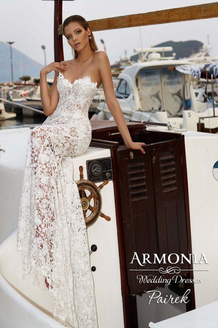 Кружевное свадебное платье трансформер прямого фасона ПАЙРЕК