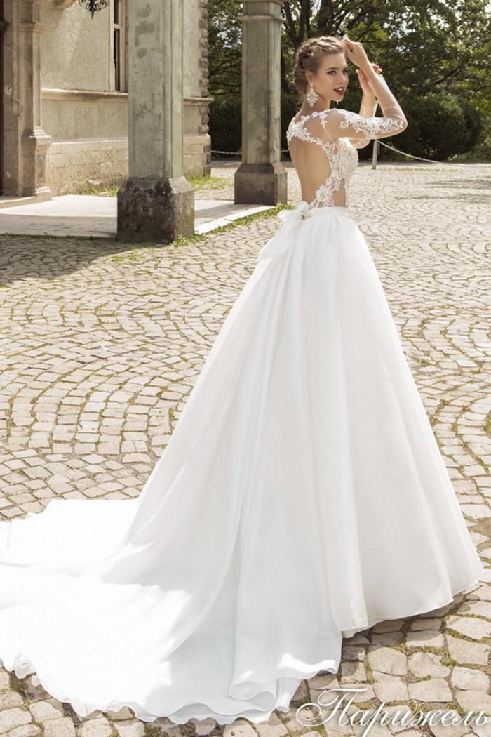 Свадебное платье силуэта «принцесса» c полупрозрачным верхом ПАРИЖЕЛЬ