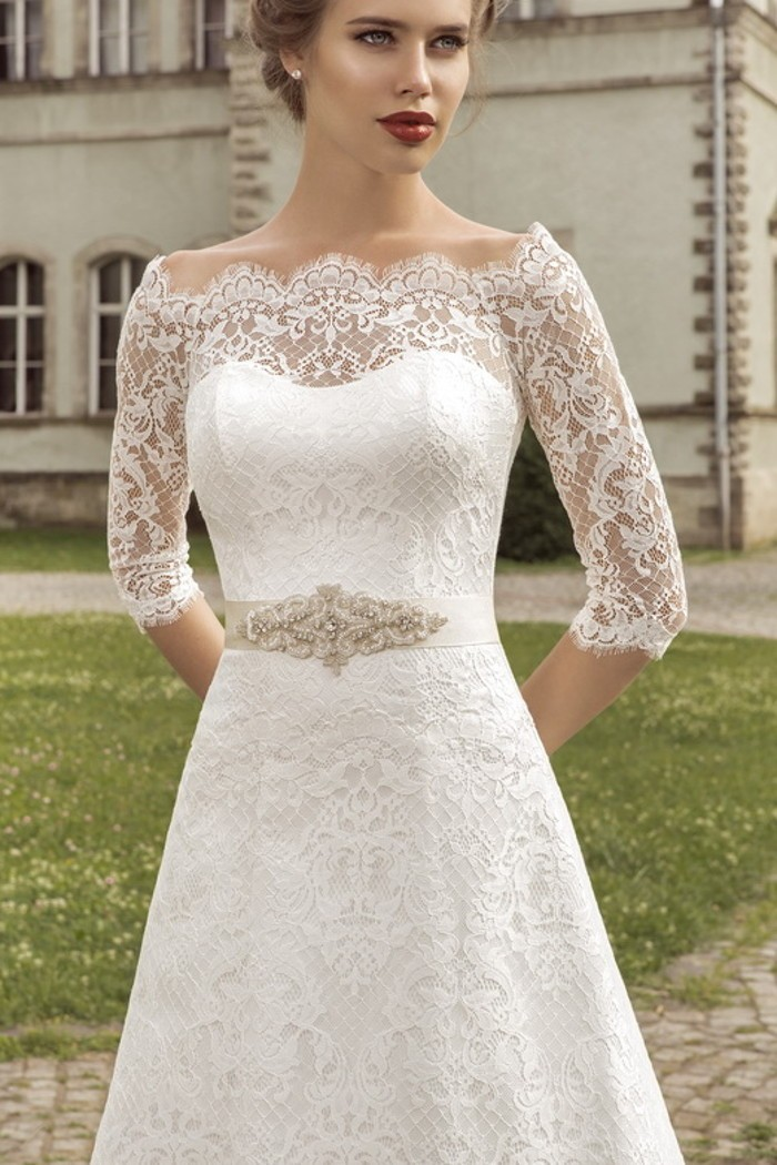 А-силуэтное кружевное свадебное платье АНТАЛИЯ