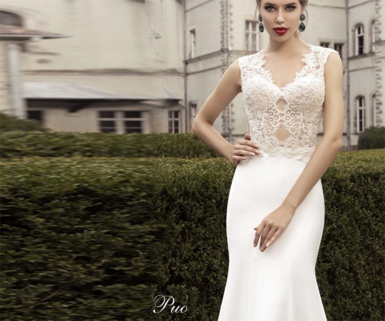 Свадебное платье силуэта Годе с кружевом и шлейфом РИО