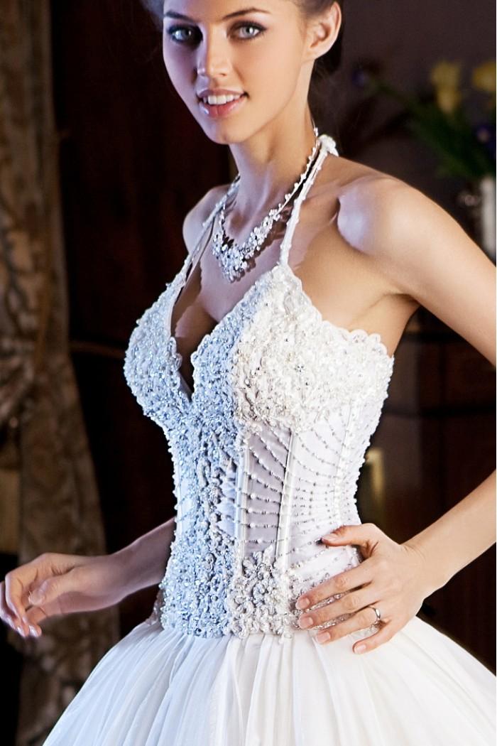Свадебное платье с корсетом и пышной юбкой  КРИСТАЛЛ