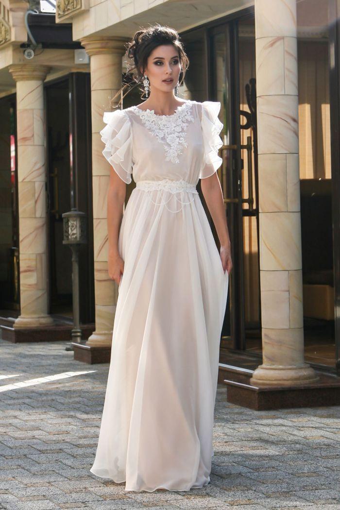 Мягкое и нежное свадебное платье прямого силуэта СЕЛЕНА