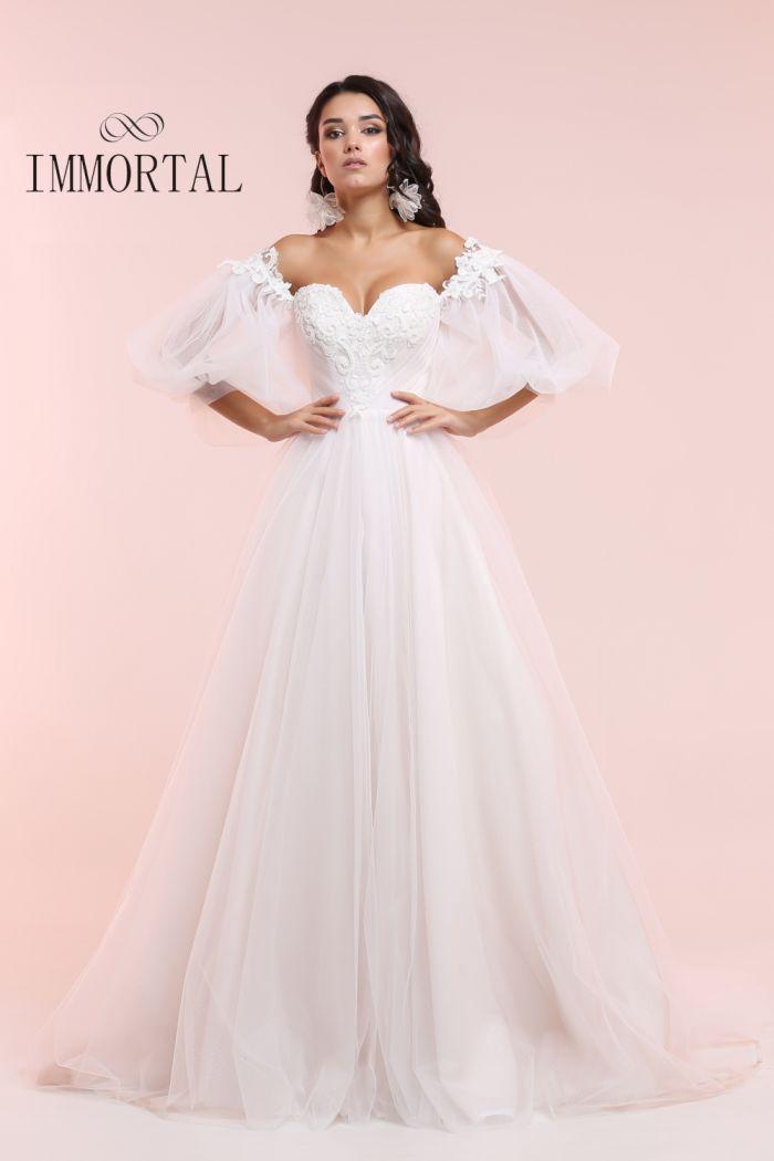Пышное свадебное платье пудрового цвета со съемными рукавами АЛЬБА