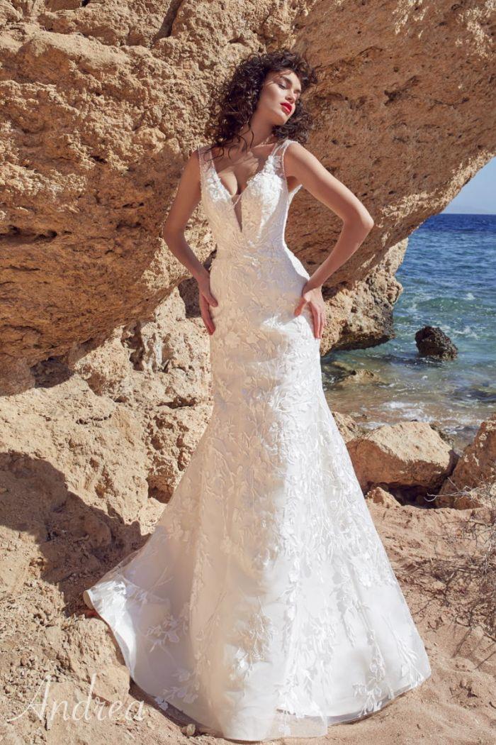 Изысканное свадебное платье «русалка» оттенка айвори АНДРЭА