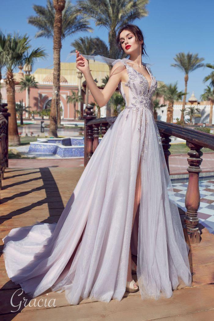 Цветное свадебное платье с высоким разрезом ГРАЦИЯ