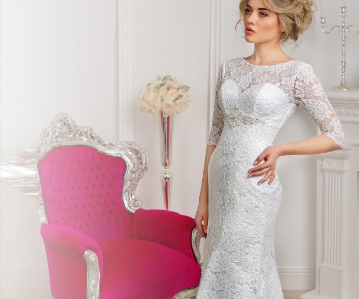 Прямое свадебное платье полностью покрытое кружевом ОЛИВИЯ