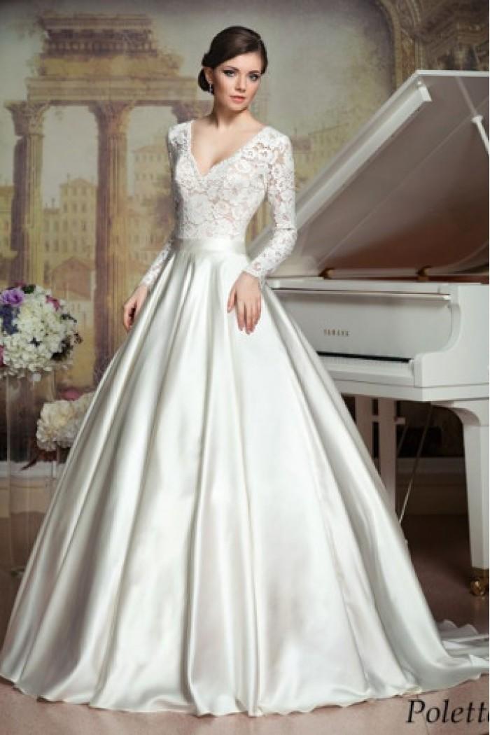 Свадебное платье с  ажурным верхом и пышной юбкой ПОЛЕТТ
