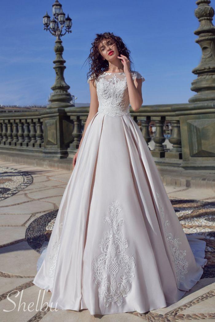 Роскошное свадебное платье из миланского атласа ШЕЛБУ