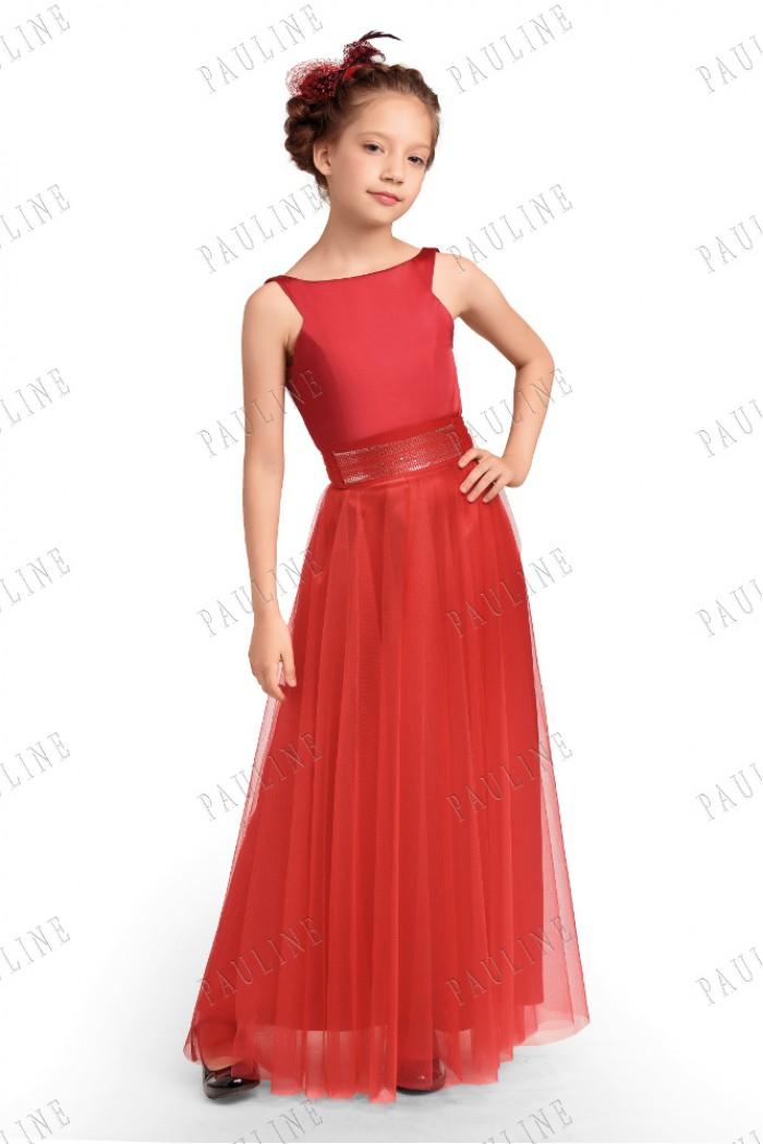 Детское красное платье с длинной юбкой БЕОНО
