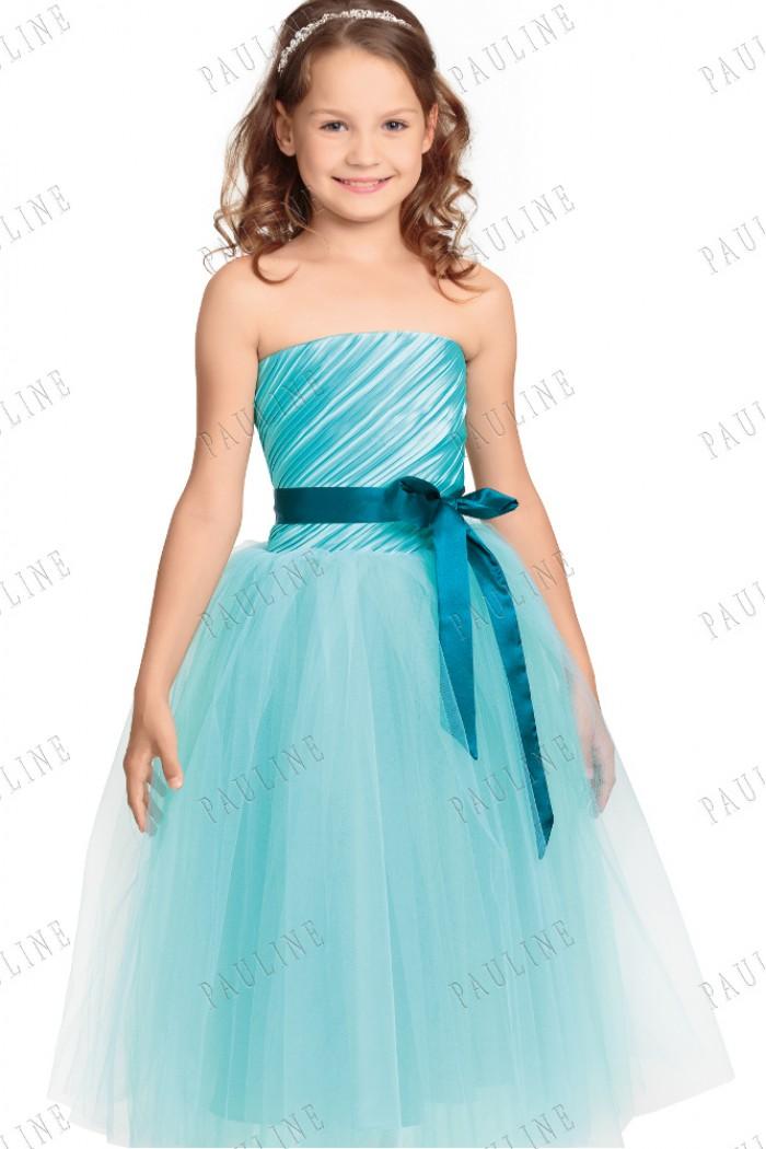 Детское бирюзовое платье с пышной юбкой ЛАНВИ