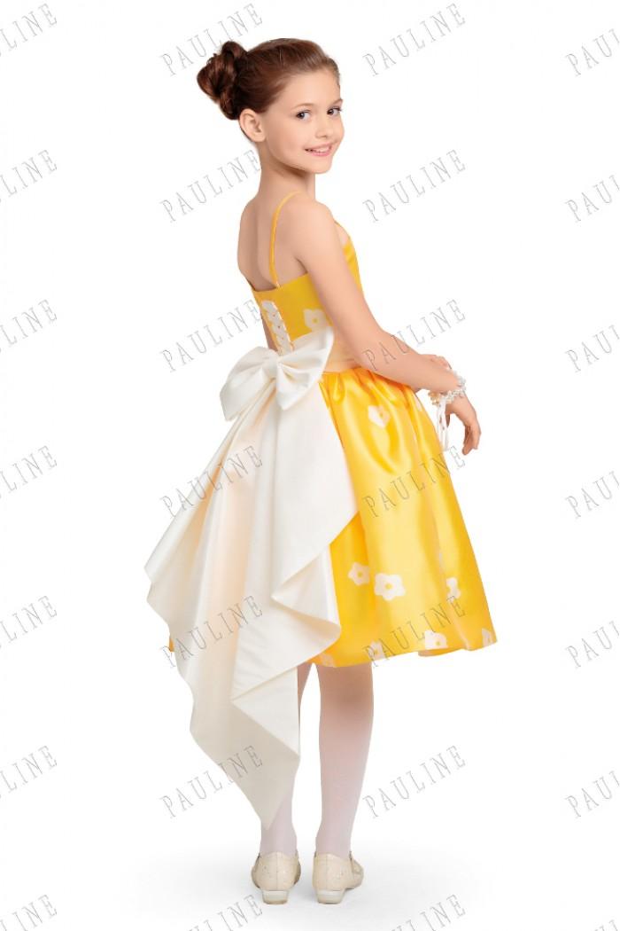 Желтое нарядное платье для девочки с бантом-шлейфом АМИ