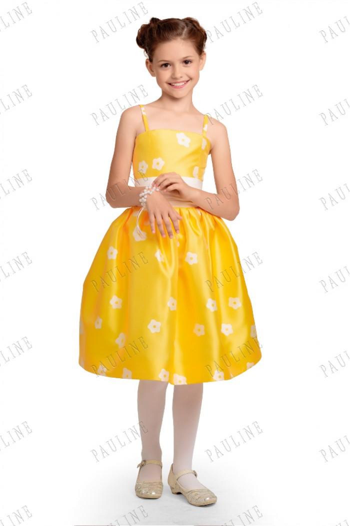 Платье на девочку нарядное желтое