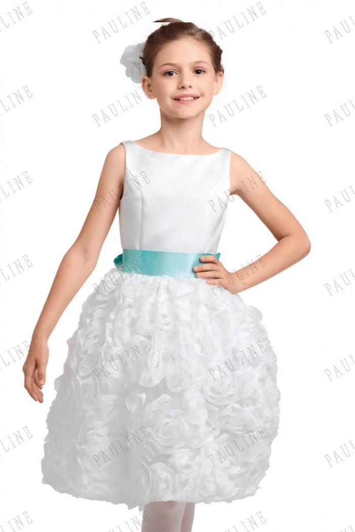 Детское нарядное платье с поясом ЮБЕРА