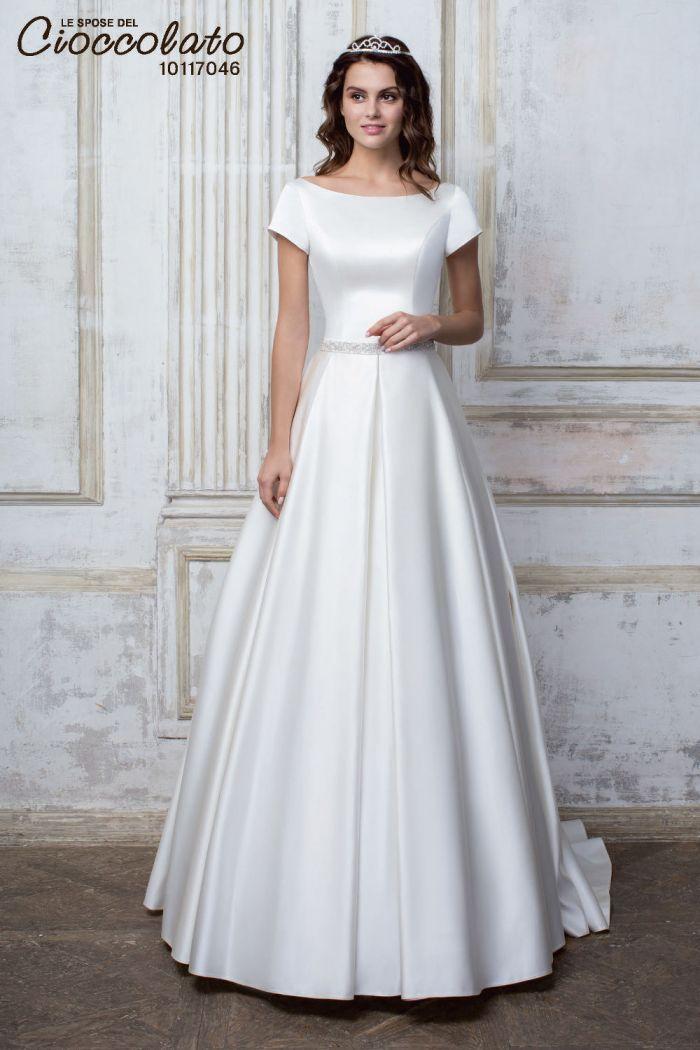 Атласное свадебное платье с гладкой юбкой CIOCCOLATO #46