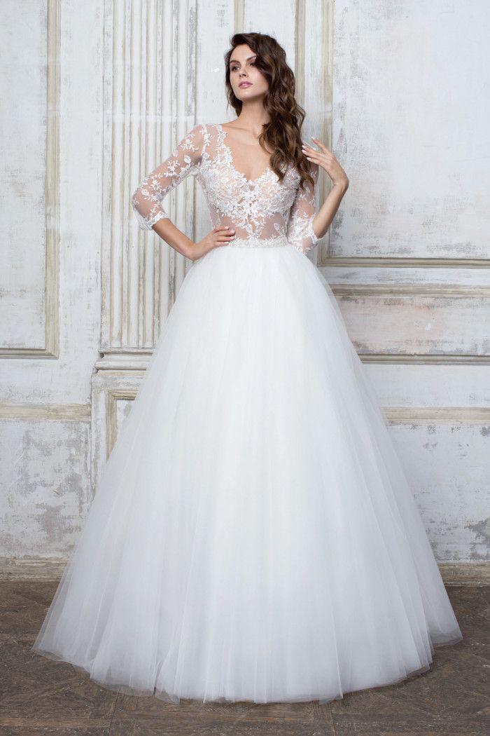 Свадебное платье с полупрозрачным лифом и пышной юбкой CIOCCOLATO #55