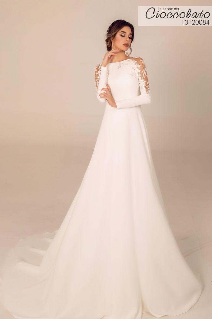 Атласное свадебное платье с длинным рукавом и юбкой со шлейфом 20084