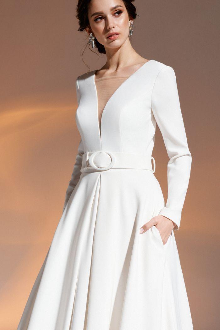 Свадебное платье А-силуэта с длинным рукавом и открытой спиной 21088
