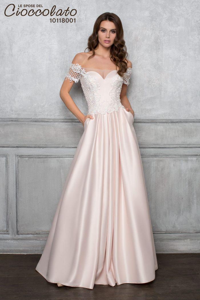 Атласное свадебное платье с юбкой А силуэта CIOCCOLATO #8001