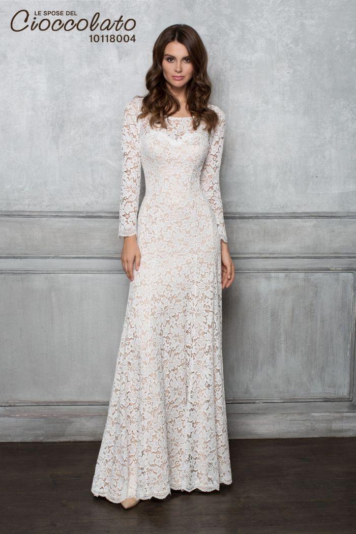Кружевное свадебное платье прямого силуэта с длинными рукавами CIOCCOLATO #8004