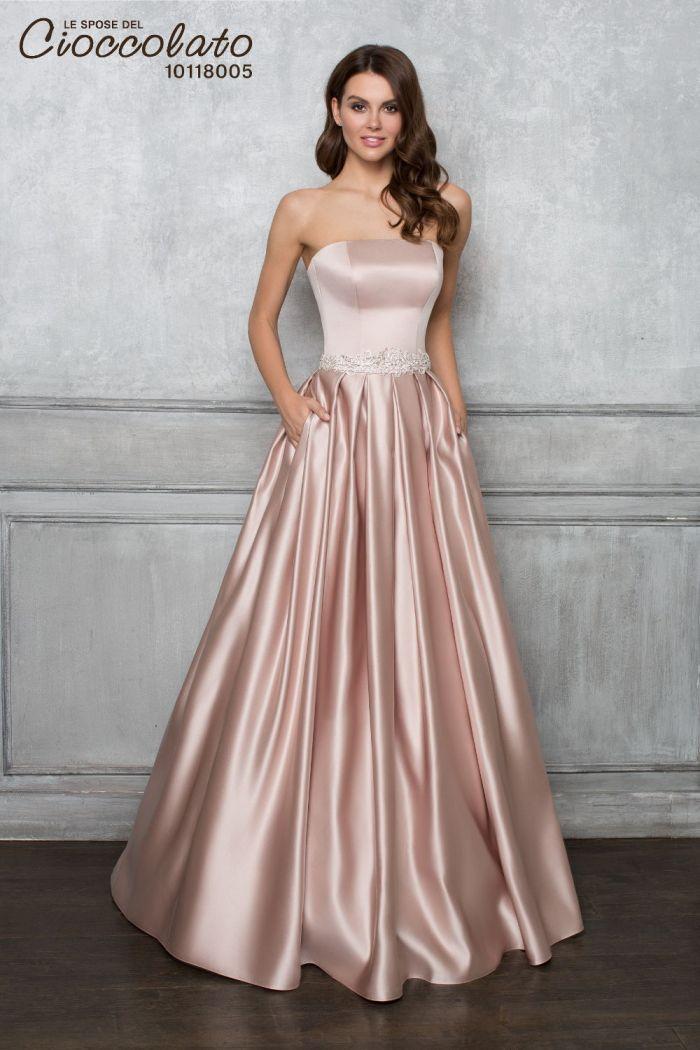 Свадебное платье кремового цвета с атласной юбкой CIOCCOLATO #8005