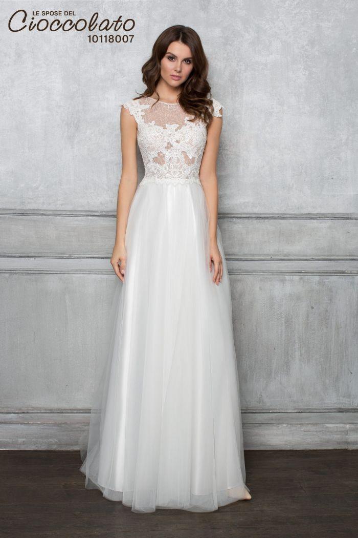 Нежное свадебное платье с ручной вышивкой CIOCCOLATO #8007