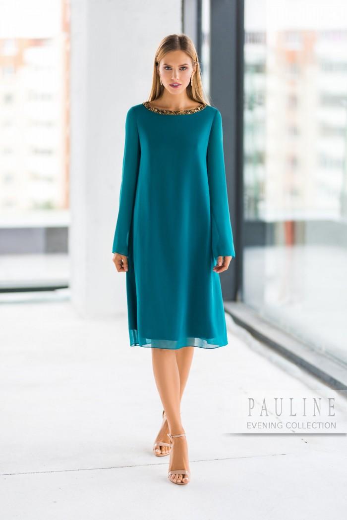 Стильное платье изумрудного цвета с длинными рукавами АДМИРА Lux