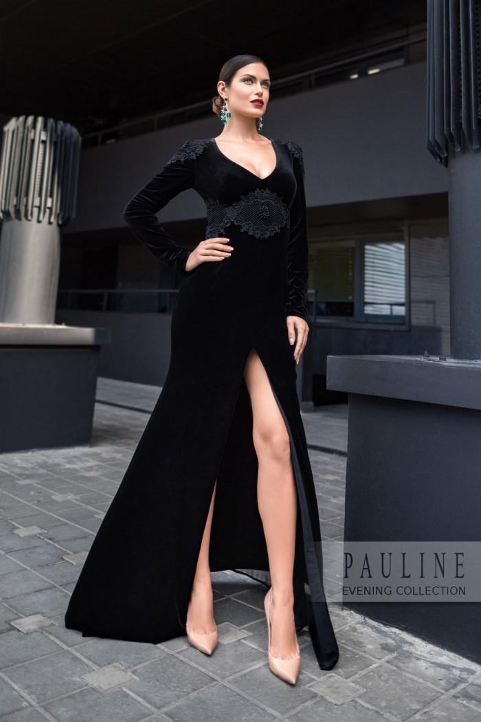 Бархатное вечернее платье максимальной длины с высоким разрезом ЭНИСТОН Макси