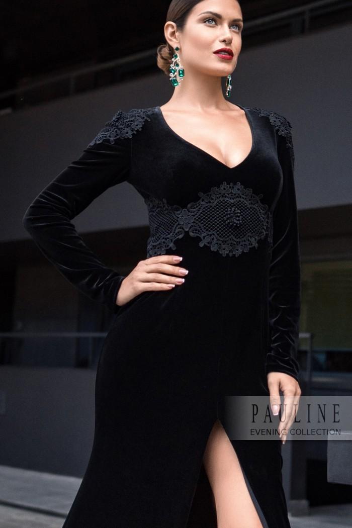 fb222b8e5821911 Бархатное вечернее платье максимальной длины с высоким разрезом. ЭНИСТОН  Макси